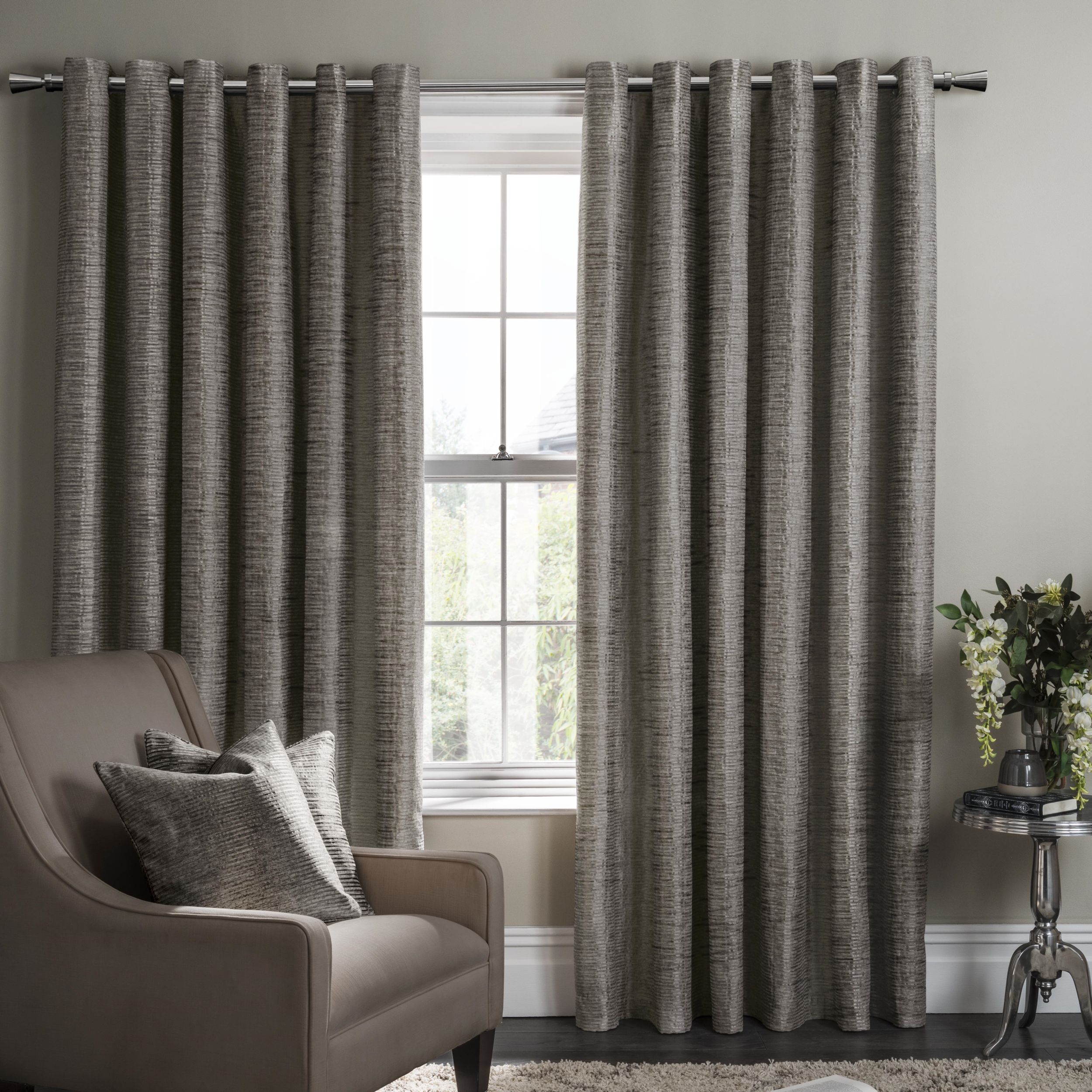 Campello Charcoal Eyelet Ready Made Curtains House Of Fabric