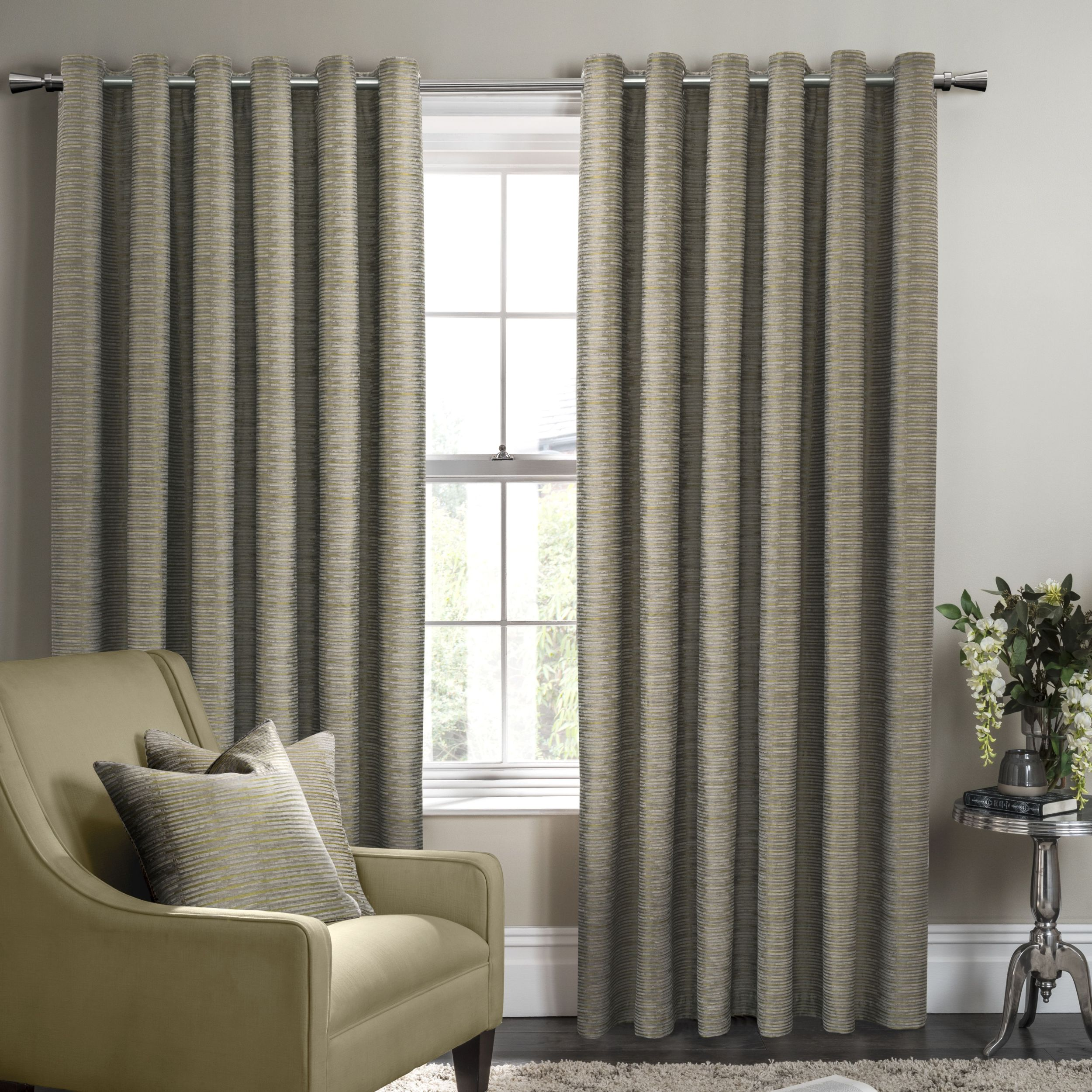 Campello Olive Eyelet Ready Made Curtains