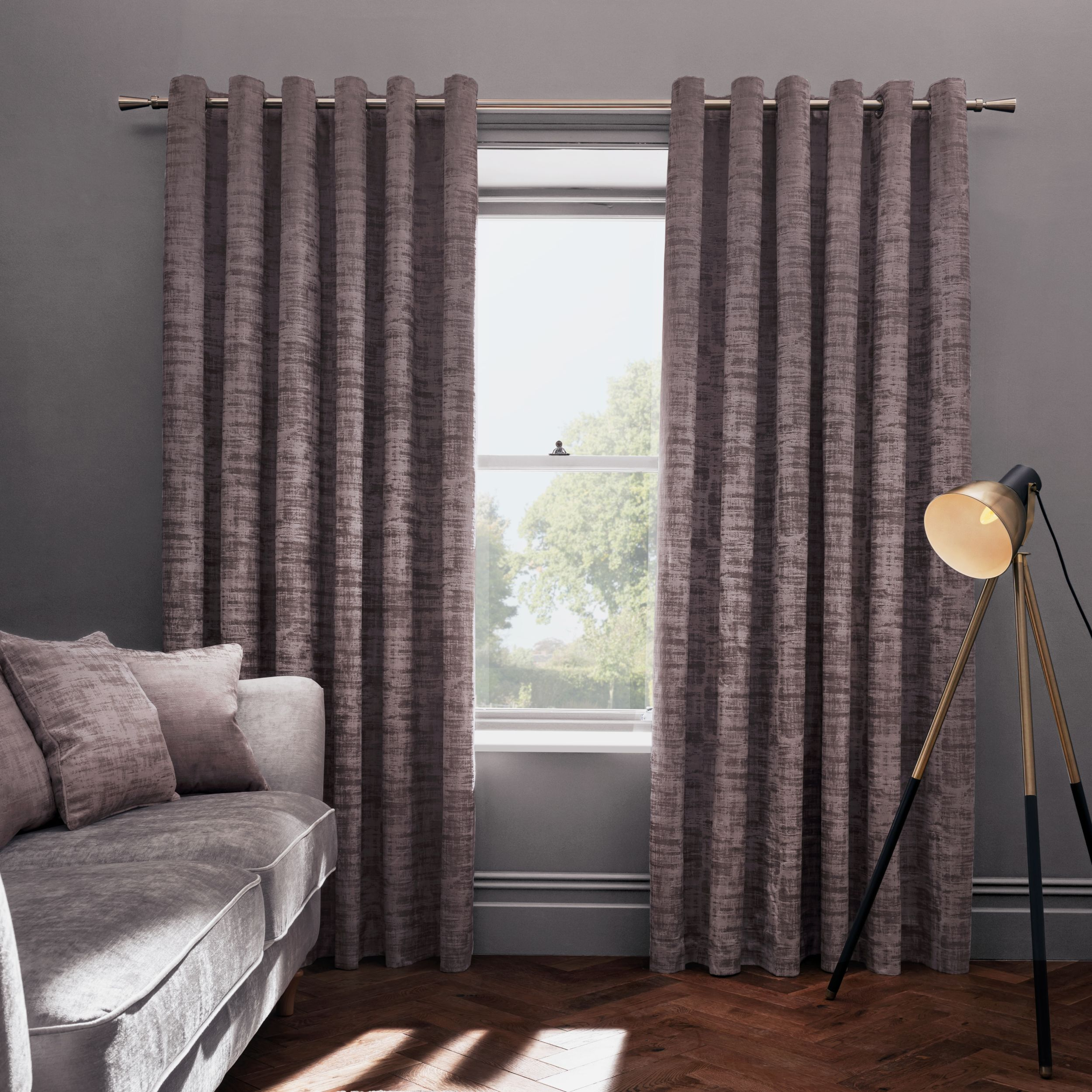 Naples Heather Eyelet Ready Made Curtains